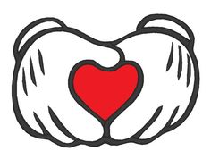 Mickey Love Hands Applique Machine Embroidery Design 3 Sizes