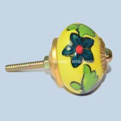 Yellow Floral Style Hand Painted Ceramic Knobs, Set of 2 on RoyalFurnish.com, $3.95