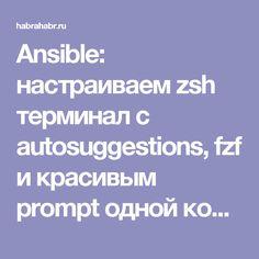 Ansible: настраиваем zsh терминал с autosuggestions, fzf и красивым prompt одной командой / Хабрахабр