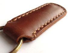 Handmade Genuine Leather HANDMADE Wristlet Key Fob by FeltSJie, $12.00