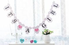 it's a girl bunting banner Baby Shower Garland Decoration, Photo Booth Props, Baby Clothes Shape