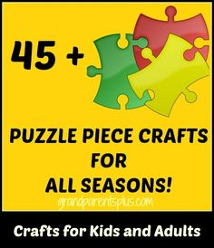 Puzzle piece crafts are easy, inexpensive and fun to do. Lots of inspiration for 45+ crafts using  pieces that you would throw away. Adult and kid's crafts!