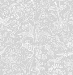 Scandinavian Designers (2745) - Boråstapeter Wallpapers - An all over floral design in a white outline and a muted dove grey background