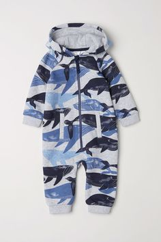 Hooded Sweatshirt Jumpsuit | Gray melange/whales | KIDS | H&M US
