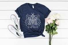 b81fd1a02 Marian Cross Heather Navy T-Shirt UNISEX Fit - Catholic T-shirt - Catholic  Tee - Miraculous Medal T-shirt - Blessed Virgin Mary Easter Gift