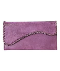 Look at this #zulilyfind! Purple Whipstitch Flap Leather Wallet #zulilyfinds