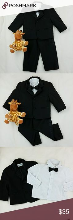 Matching set Tuxedo Suit & Shirt 4 pcs Matching set Tuxedo Suit & Shirt 4 pcs Brand: Peanut butter Collection  Size: 2T  Color: black, white shirt  Gently used but shows some minor stains on shirt. Not that visible. peanut butter collection Matching Sets