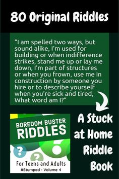 Boredom Buster Riddles features 80 originally written riddles. You won't find old rehashed riddles in this book! They've all been written specifically for this book by the Author. Challenge yourself, use the riddles for games, stocking stuffers, party prizes, and gifts. #riddlebooks #brainteasers #stumpedriddles #stumped Stand Me Up, Party Prizes, Polka Dot Party, Old And Teen, Mindfulness Exercises, You Used Me, Relaxation Techniques, Boredom Busters, Blue Party