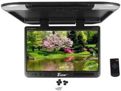 """Tview T257IR-BK 25"""" Black Flip Down Wide Screen Ultra Slim TFT Car Monitor With Built In IR Receiver, Dual Dome Lights and Wireless Remote Control by Tview. $248.95. Tview T257IR-BK 25"""" TFT Wide Screen Flip Down Monitor Ultra Slim Design Crystal Clear High Resolution: 1680 x 1050 Color: Black Wide Screen: 16:9 ratio Contrast Ratio: 500:1 Display: TFT Active Matrix System Built in IR Transmitter Two Video Input One Audio Input Wireless Remote Control Included In-Lin..."""