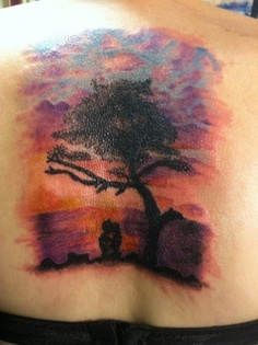 Colorful sky background would look neat  behind my forearm tattoo
