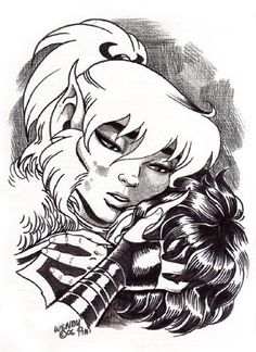 Cutter and Zhantee from Elfquest. Art by Wendy Pini.