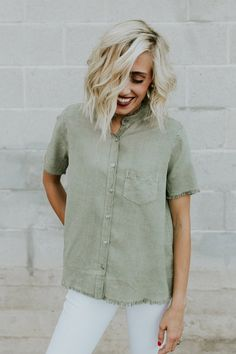 Olive Button Up Top | ROOLEE