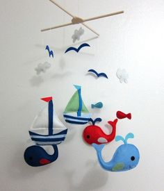 "Baby Crib Mobile - Baby Mobile - Mobile - Crib mobiles - Felt Mobile - Nursery mobile - "" Blue and Grey Whales"" design Baby Mobile Felt, Baby Crib Mobile, Felt Baby, Nautical Nursery, Nautical Baby, Nautical Mobile, Red Nursery, Nursery Room, Baby Boy Nurseries"