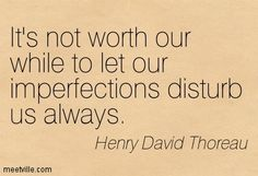 Henry David Thoreau It's not worth our while to let our imperfections disturb us always.