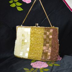 Hand Beaded Evening Purse Bag by DeLill  Ivory Pearl Gold & Copper Tones with Yellow Satin Lining by TeaJay, Vintage  Bags and Purses  Formal  Evening  Bag  Purse  Beaded  Gold  Ivory  Copper  Hand Made  Hong Kong DeLill  1960s  uk  wicksteads Mr Wickstead