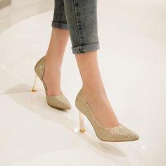 Women's Pure Color High Heel Thin Heel Pumps