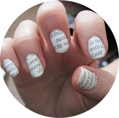 1. Polish your nails with your desired coats and let dry (light colors work best). 2. Pour some rubbing alcohol in a glass 3. Dip your nail in the rubbing alcohol. 4. Place and press a strip of the newspaper on your nail and hold firmly but careful for 30 seconds. 5. Remove strip and repeat on each nail or a select few nails if desired 6. Finally, polish your nails with a good clear top coat to seal the deal.