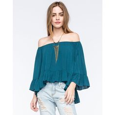 Full Tilt Off The Shoulder Ruffled Womens Top ($27) ❤ liked on Polyvore featuring tops, blouses, teal blue, ruffle blouse, blue blouse, gypsy top, rayon tops and off the shoulder tops