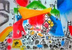 Under Construction; Size: A3; Technic: carbon & pastelle crayons; Game: MDK (Shiny Entertainment, 1997)