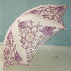 Handmade Embroidery Sun Rain Umbrellas Lace Sequins Anti UV Lady Folding Parasol #sist3r #Vintage