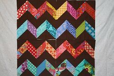 Kaffe Fassett fabric idea with BONUS half square triangles for another project APPLIQUE TODAY: Zig Zag Block Tutorial