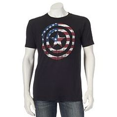 Reward your heroic sense of style with this men's Captain America tee. Mens Patriotic Shirts, Mens Printed Shirts, Marvel Captain America, Crew Neck Shirt, Cool T Shirts, Men's Shirts, Tees, Mens Tops, Flag