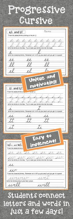 Cursive Handwriting Practice Worksheets Unique handwriting system – students learn all cursive letters in a progressive order. In just two lessons, students are connecting letters and writing words. Students love this cursive program! Writing Words, Writing Lessons, Teaching Writing, Writing Activities, Teaching Resources, Pre Writing, Teaching English, Handwriting Practice Worksheets, Writing