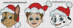 schema punto croce faccine paw patrol natalizie