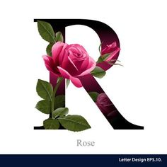 Letter R vector alphabet with rose flower ABC concept type as logo Typography design - Shutterstock Alphabet Design, R Letter Design, Letter Art, Alphabet Wallpaper, Name Wallpaper, Flower Wallpaper, Flower Alphabet, Flower Letters, Abc Alphabet