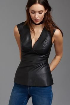If looks could kill Faux Leather Peplum Top