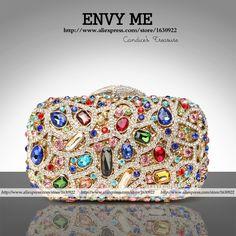 Ladies Blue Crystal Purses clutch com cristais Small Designer Handbags Evening Party Clutch Bag