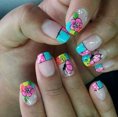 Flower Nail Designs, Simple Nail Art Designs, Cute Nail Art, Easy Nail Art, Hair And Nails, My Nails, Manicure, Different Types Of Nails, Butterfly Nail