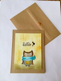 Distress Ink Hand painted Owl HELLO Card with Envelope Dots by CLMEmporium on Etsy