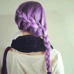 Image via We Heart It #braid #color #hair #lavender #lilac #purple