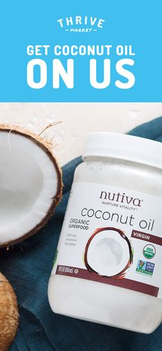 Get your FREE jar of Nutiva organic, virgin, cold-pressed coconut oil at Thrive Market! On a mission to make healthy living easy and affordable for everyone, Thrive Market offers premium, organic foods and healthy products up to off every day with del Health And Beauty, Health And Wellness, Health Tips, Pelo Natural, Coconut Oil Uses, Tips Belleza, Do It Yourself Home, Organic Recipes, Healthy Hair