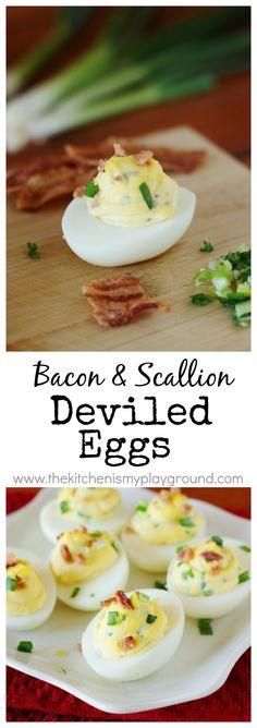 Bacon and Scallion Deviled Eggs ~ kick you deviled eggs up a notch with this scrumptiously flavorful combination!   #GottoBeNC