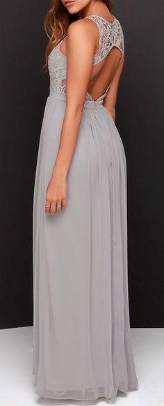 So Far Gown Grey Lace Maxi Dress