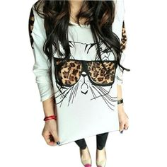 Hip Kitty Leopard Shirt Cotton/polyester soft feel women's long sleeve white shirt hip kitty wearing leopard sunglasses (fits small/medium) Tops Tees - Long Sleeve
