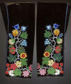 Ojibwa bead-embroidered velveteen men's leggings - very fine design, Indian Beadwork, Native Beadwork, Native American Beadwork, Loom Patterns, Beading Patterns, Floral Patterns, Floral Designs, Beaded Moccasins, Native Design