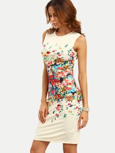 11d85707be4 Shop Multicolor Print Sleeveless Sheath Dress online. SheIn offers  Multicolor… White Dress Summer