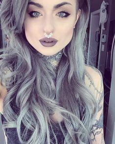 Ryan Ashley - Grey hair, rock look Girl Tattoos, Dyed Hair, Hair Inspiration, Hair, Hair Color, Silver Hair, Inked Girls, Hair Makeup, Hair Beauty