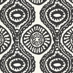 Black and Pearl Marrakech Medallion Wallpaper