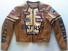 Rare Vintage EXSTASY by James & John Leather Moto Racing Jacket Coat Lined M #ExtasybyJamesJohn #Jacket