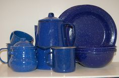 Blue Speckleware Enamelware Tableware Set Eclectic Cabin Speckled Coffee Pot Sugar bowl pots and pans plates bowls hunting lodge.