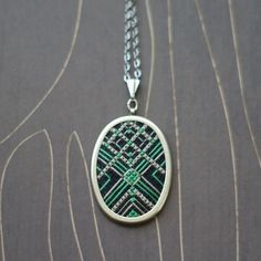 Art Deco modern cross stitch necklace/ pendant emerald