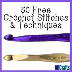 Improve your crochet skills with our new page of 50 Free Crochet Stitch and Technique Tutorials. Learn new stitches, how to crochet shapes, edgings, read charts and much more! Knit Or Crochet, Learn To Crochet, Crochet Crafts, Crochet Stitches, Crochet Hooks, Free Crochet, Crochet Basics, Loom Knitting, Knitting Patterns