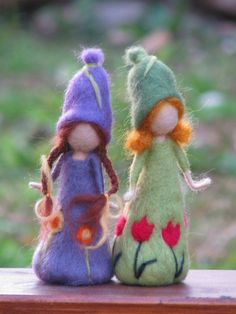 Needle felted spring dolls waldorf inspired doll.