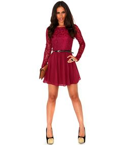 Minelli Contrast Lace Skater Dress- lace dresses- missguided