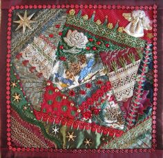 I ❤ crazy quilting . . . Xmas wallhanging. 34/34 centimeter by Margreet from Holland