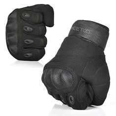 FREETOO® Mens Tactical Gloves Hard Knuckle Full Finger Adjustable Outdoor Sport/Fitness Black M